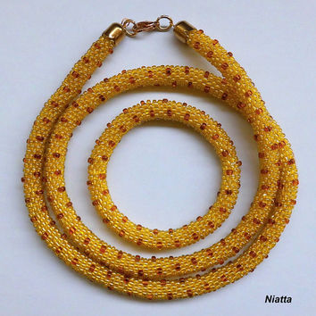 FREE SHIPPING Yellow Gold Amber Dotted Long Necklace Roll On Bracelet Set Crochet Bead Rope Niatta