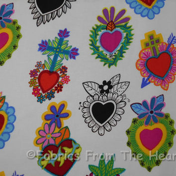 Folklorico Hearts Corazones Primavera White BY YARDS Alexander Henry Cotton Fabric