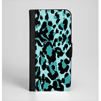 The Vector Hot Turquoise Cheetah Print Ink-Fuzed Leather Folding Wallet Case for the iPhone 6/6s, 6/6s Plus, 5/5s and 5c