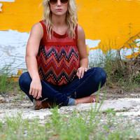 Shades of Red Chevron {Tank}