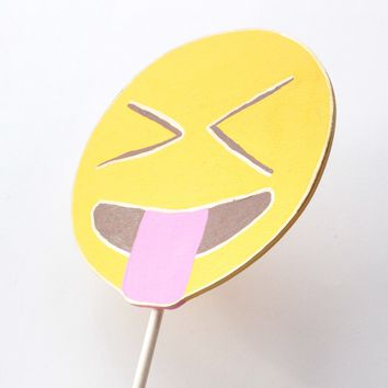 Face with stuck out tongue and eyes closed emoji wooden photo booth prop