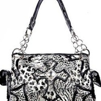 Animal Print Zebra Leopard Rhinestone Cross Satchel Purse Black (black)