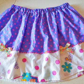 Barbie skirt polka dot hot pink lavender size XL 80s lolita fairy kei
