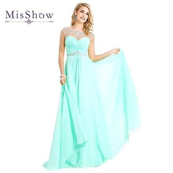 Vestido De Festa Robe de soiree Light Blue A Line Long Bridemaid Dresses 2017 Crystals Sheer Neck Chiffon Wedding Party Dress