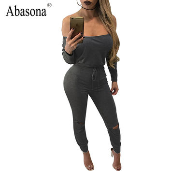 New Design Slash neck Off the Shoulder Sexy Jumpsuits Cut out Knee Fashion Rompers Womens Jumpsuit Long Sleeve Slim Overalls
