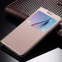 Deluxe View Window PU Leather Case For Samsung Galaxy A3 A5 A7 2017 2016 S7 Edge Note 4 5 J1 J2 J3 J5 J7 2016 J5 J7 Prime S8+