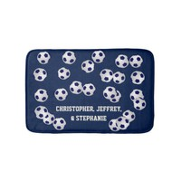 Soccer Blue or Choose Your Color Personalized Bathroom Mat
