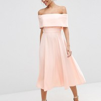ASOS Soft Off The Shoulder Bardot Midi Prom Dress at asos.com