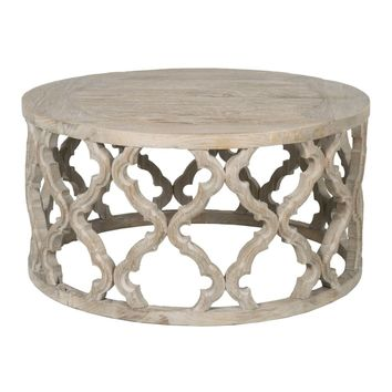 Clover Round Coffee Table Smoke Gray Recycled Wood