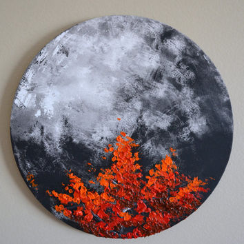 Red Tree Top in the Moonlight Original Oil Painting