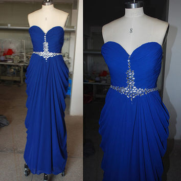 Dark Royal Blue Sweetheart Neckline Floor Length Beading Silver Crystals Sexy Prom Dresses Bridesmaid Dress Evening Dress