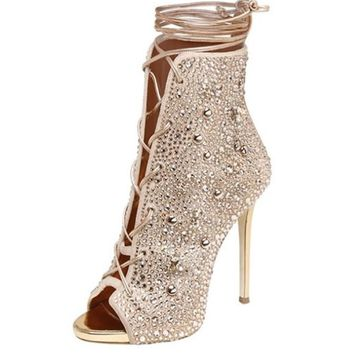 Lexie bling crystal lace up bootie sandal heels
