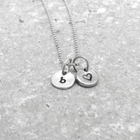 Tiny Letter b Necklace, Sterling Silver Initial Necklace, Heart Necklace, Charm Necklace, Initial Jewelry, Personalized Jewelry