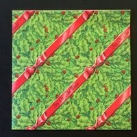 """Christmas Gift Wrap - Waner Press - Joy to the World Red and Green Print - 19"""" X 25"""" Single Sheet - Vintage 1960 - Flat Sheet Paper - Edit Listing - Etsy"""