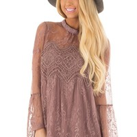 Mocha Sheer Lace Top with Bell Sleeves
