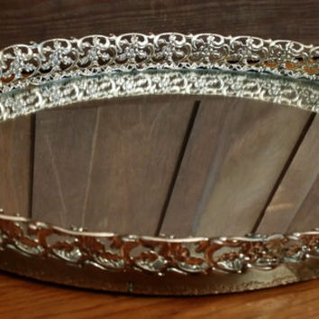 Vintage Large Ornate Gold Toned Oval Hollywood Regency Style Mirrored Dresser Vanity Tray Christmas Gift for Her