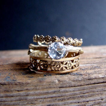 Gold Plated Stack Rings White Topaz Floral Sterling Silver Ring Gemstone Ring Botanical Jewelry