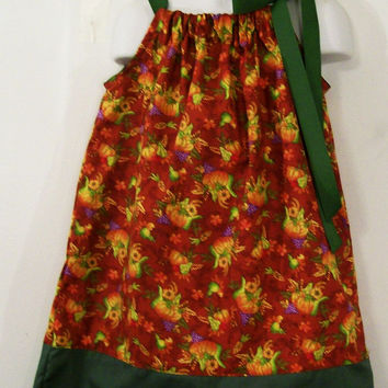 Girls Pillowcase Dress-Horn a Plenty--Thanksgiving dress-Rust colored-#297--