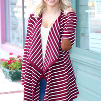 Waterfall Striped Elbow Patch Cardigan {Burgundy+Ivory}