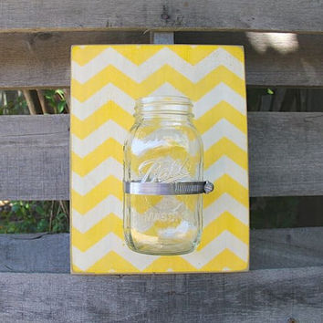 Yellow Chevron Design Mason Jar Wall Decor - Storage Solution - Flower Vase - Outdoor Planter - Kitchen Decor - Yellow Home Decor