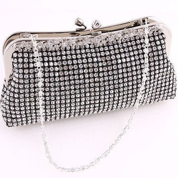 Black Satin Clutch Purse with Austrian Rhinestones