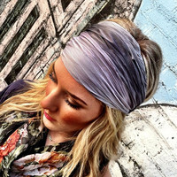 Gray Stretchy Headband Black & Grey MultiColor by ThreeBirdNest