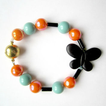 Black Butterfly with Colorful Beads Bracelet