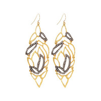 Crystal-Embellished Lacy Leaf Earrings