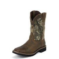 Justin Men's Stampede Camo Waterpoof Pull-On Square-Toe Workboots
