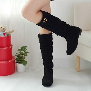 Winter Autumn women boots For Women Boots Genuine Suede Boots Rubber Soles Russion wo