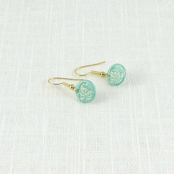 Small Earrings, Mint Green Dangle Earrings, Art Nouveau Damask, Embossed Polymer Clay Jewelry, Gold Plated