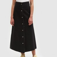 Ashley Rowe / Snap Skirt in Black
