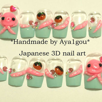 Mint nail, octopus, takoyaki, kawaii, 3D nail, french tips, Japanese nail, funny nail, Harajuku, pastel, squid, nautical, deco nail, nails
