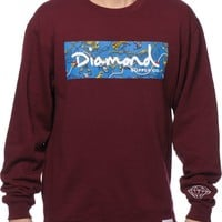 Diamond Supply Co Low Life Box Logo Burgundy Crew Neck Sweatshirt