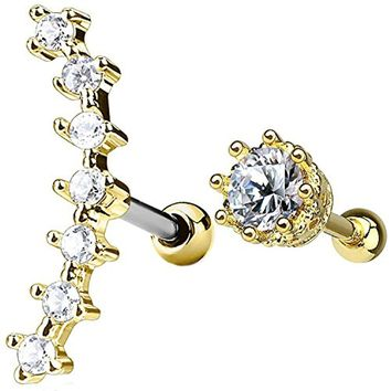 2PC Tragus Piercing Vintage CZ Stud Earring Ball 16G Gold Surgical Steel Helix Ear Barbell