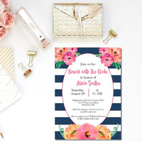 Printable bridal brunch invitation / brunch with the bride invite / striped bridal shower invite / navy and coral invite / navy and pink