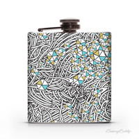 White Vines and Gemstones - 6oz Whiskey Hip Flask