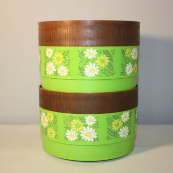 Set of Two Alladinware Green Daisy Canisters, Stackable Storage Box, 1970's Boho Kitchenware,