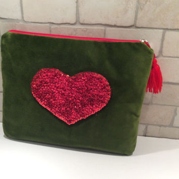 Velvet olive green  clutch hand embroidered with a red sequined heart, tassel  zipper pull, handmade, unique pouch