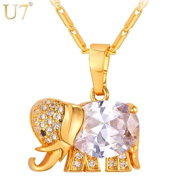 U7 Cute Elephant Crystal Necklace Western Design Gold Color AAA Cubic Zirconia Animal Pendants & Necklaces Jewelry For Women P56