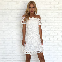 Baker Crochet Off Shoulder Dress In White