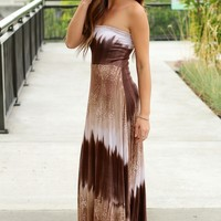 Chocolate Ocean Paisley Maxi Dress
