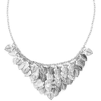 Falling Leaves Necklace - Silvertone - Matr Boomie (Jewelry)