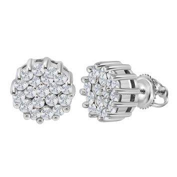 14kt White Gold Women's Round Diamond Flower Cluster Earrings 1.00 Cttw - FREE Shipping (US/CAN)