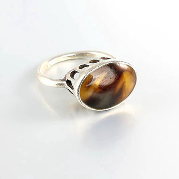 Tortoise shell sterling silver Ring , Modernist Vintage Jewelry tall modern middle finger ring size 6.75