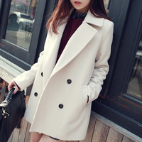 2015autumn woolen outerwear female medium-long straight loose wool coat autumn and winter