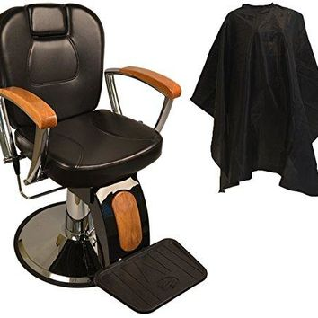 LCL Beauty Reclining Hydraulic Barber Chair w/ Natural Oak Wood Armrests & Wood Grain Accent