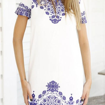 Blue and White Tile Print Dress