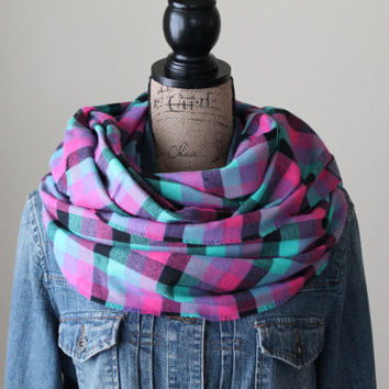 Multi Colored Plaid Scarf, Plaid Check Infinity Scarf, Winter Scarf, Womens Scarf, Chunky Scarf, Gift for Her, Spring Scarf