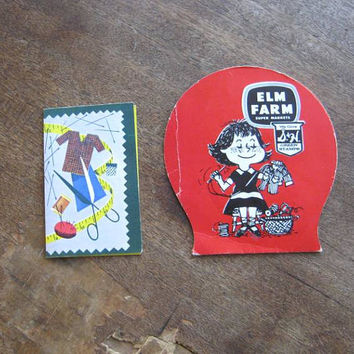 Elm Farm Insurance Vintage 1950s Promo Needle Book with Little Girl Sewing + Supreme Forest Woodmen Life Needle Folder with Scissors/Notions